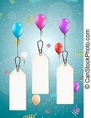 vuelo, globos, con, blanco, precio