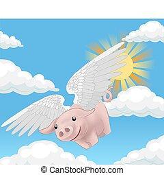 vuelo, ilustración, cerdo