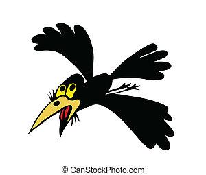 vuelo, ilustración, vector, plano de fondo, blanco, cuervos