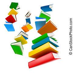 vuelo, libros, ., aislado, blanco