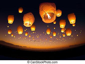 vuelo, linternas, chino