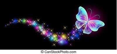 vuelo, mariposa, con, destello, y, arder, rastro