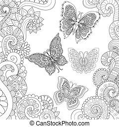 vuelo, mariposas