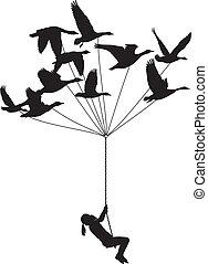 vuelo, niña, con, salvaje, gansos