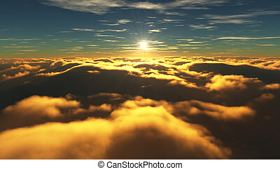 vuelo, nublado, clouds., mientras, sobre, salida del sol, vista