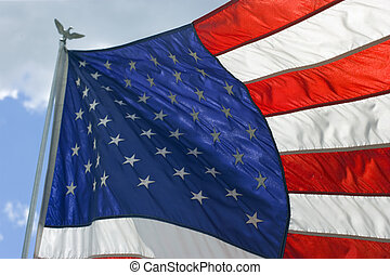 vuelo, orgullosamente, ventoso, bandera estadounidense, día
