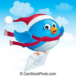 vuelo, pájaro azul, con, sobre