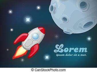vuelo, planet., cohete, luna
