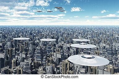 vuelo, platillos, encima, un, megacity