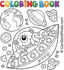 vuelo, platillos, libro colorear, tierra