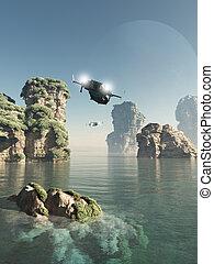 vuelo, por, el, apilados del mar