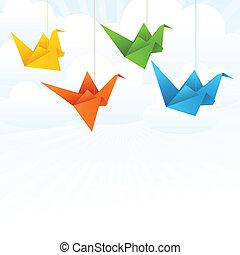 vuelo, resumen, fondo., papel, origami, aves