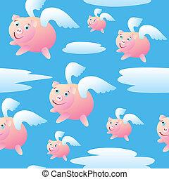 vuelo, seamless, cerdos