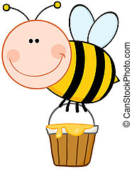 vuelo, sonriente, abeja