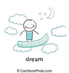 vuelo, sueño, barco, hombre