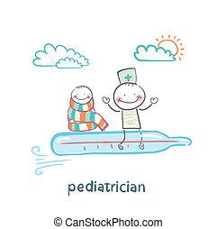 vuelo, termómetro, pediatra, niño enfermo
