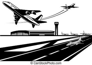 vuelta, aviones, esperar, su, despegar
