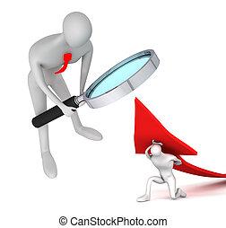 vuelta, cómo, mirar, persona, upside, flecha, hombre, 3d