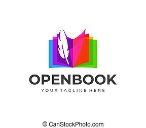 vuelta, colorido, libro, pluma, vector, diseño, logotipo, fuente, pluma, abierto, páginas, design.