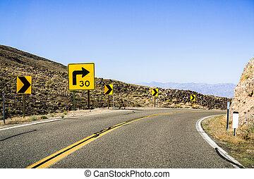 vuelta correcta, actuación, 30 b6 , señal, road;, bobina,...