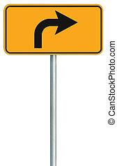 vuelta correcta, adelante, ruta, muestra del camino, amarillo, aislado, zona lateral de camino