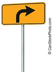 vuelta correcta, adelante, ruta, muestra del camino, perspectiva, amarillo, aislado
