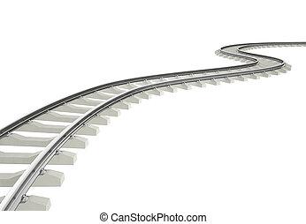 vuelta, curva, ferrocarril, ilustración