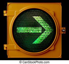 vuelta, derecho, tráfico, flecha, luz