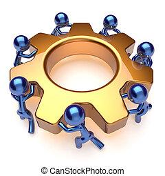vuelta, engranaje, empresa / negocio, proceso, trabajadores...