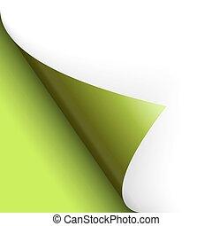 vuelta, fondo, encima, verde, página, izquierda