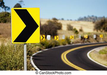 vuelta, señal, derecho, tráfico