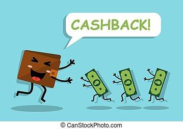 vuelto, cashback, billetera, dinero