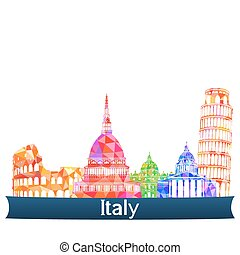 vues, italie, vecteur, illustration