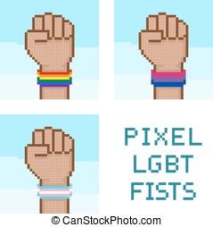 vuisten, lgbt, vector, pixelated, wristbands