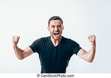 vuisten, succes, winnaar, op, vieren, man