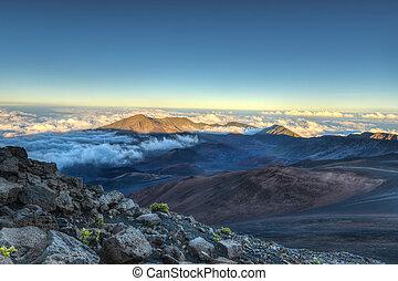 vulcão, caldera, haleakala, (maui, hawaii)
