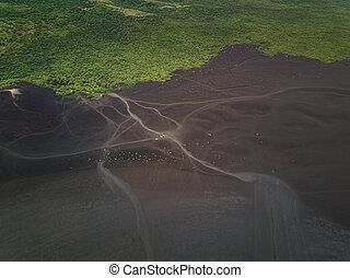 vulcão, cinza, vista aérea