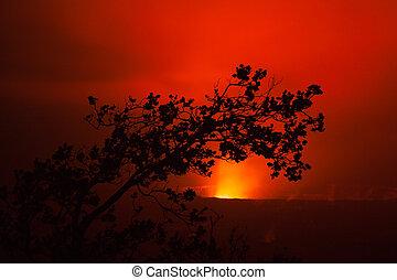 vulcão, erupção, noturna