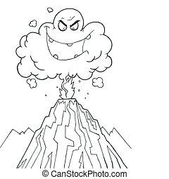 vulcão, erupting