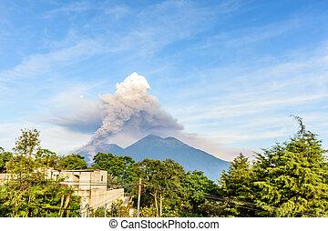 vulcão, erupting, guatemala, fuego