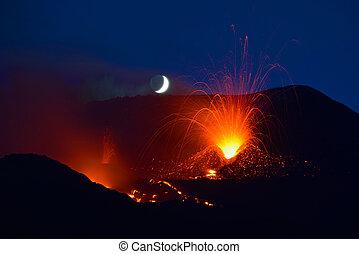 vulcão, etna, sicília, itália, 2014