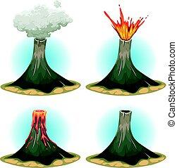 vulcão, jogo, montanhas