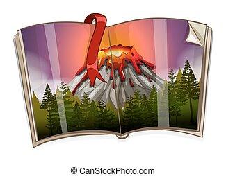 vulcão, livro, cena