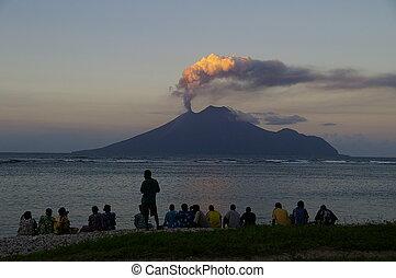 vulcão, lopevi, erupção