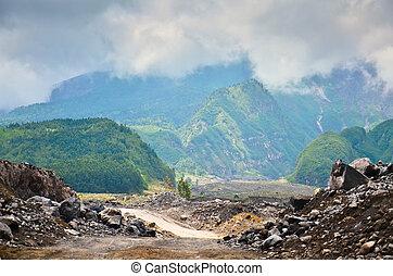 vulcão, merapi, ligado, a, ilha, de, java, indonésia