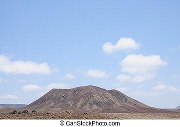 vulcão, montanha, ligado, ilha canário, fuerteventura,...