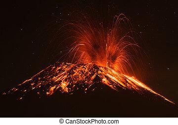 vulcão, tungurahua, equador