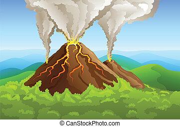 vulcão, verde, fuming, montanha