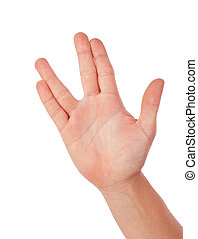 Vulcan greeting, womans hand, isolated on white