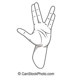 Vulcan salute hand gesture vector illustration - Vulcan...